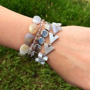 Gray & Silver Quartz Boho Bracelet Stack!